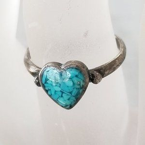 Jewelry - Turquoise Stone Chip Heart 925 Sterling Ring 6